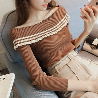 Long-Sleeve Off-Shoulder Rib Knit Top 1062606884