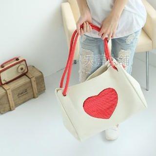 Buy SkyBlue Heart Print Oversized Shoulder Bag 1022986769