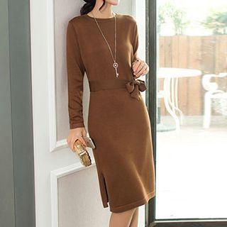 Long-Sleeve Tie-Waist Dress 1045522651