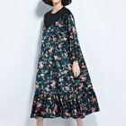Floral Print Long-Sleeve Midi Dress 1596