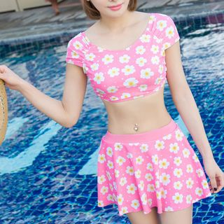 Set: Floral Print Short-Sleeve Swim Top + Swim Skirt 1057252406