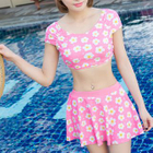 Set: Floral Print Short-Sleeve Swim Top + Swim Skirt 1596