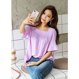 Square-Neck Elbow-Sleeve Top 1060814377
