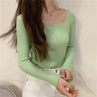 Image of Plain Square-Neck Long-Sleeve Knit Top