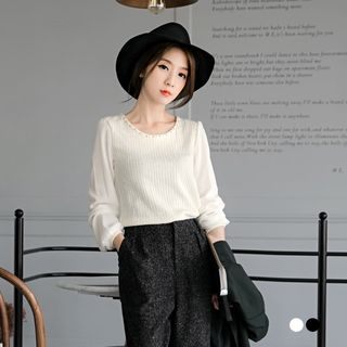 Beaded Rib Knit Paneled Sweater 1053091520