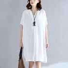V-Neck Short-Sleeve Shift Dress 1596