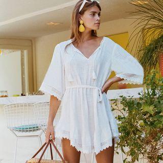 Image of Elbow-Sleeve Plain Tunic Dress White - One Size