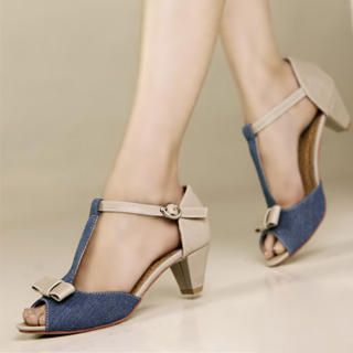 "Buy Kvoll Denim-Panel ""Bow"" Sandals 1022991183"