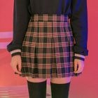 Band-Waist Plaid Mini Skirt 1596
