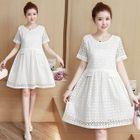 Short-Sleeve Maternity Lace Dress 1596