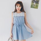 Lace Panel Check Sleeveless Dress 1596
