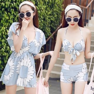 Set: Floral Print Bikini Top + Swim Shorts + Cover-Up Dress 1060709940