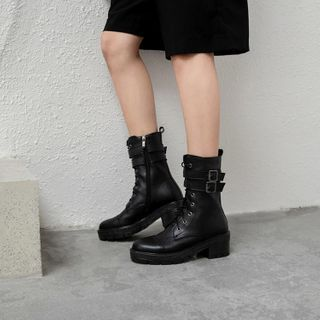 Perforated Lace-up Short Boots