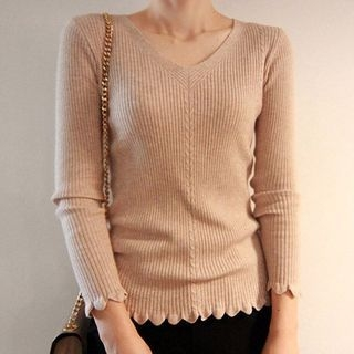 V-Neck Rib Knit Top 1057036283