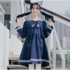 Embroidered Sailor Collar Long-Sleeve Dress 1596