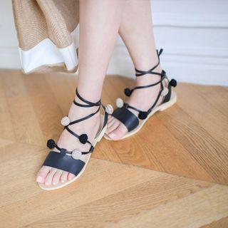 Pom Pom Gladiator Flat Sandals 1050278366