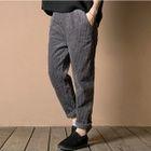 Elastic Waist Straight Leg Corduroy Pants 1596