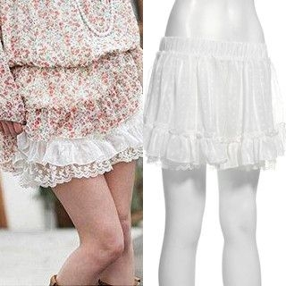 Picture of ageha@shibuya Ruffle-Hem Lace Shorts White - One Size 1022149451 (ageha@shibuya Apparel, Womens Skirts, Japan Apparel, Japan Skirts)