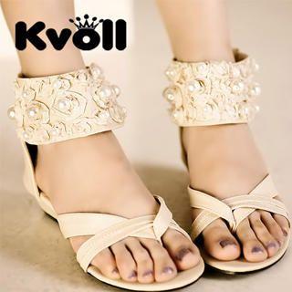 Buy Kvoll Pearl & Rosette Cuff Sandals 1023070317