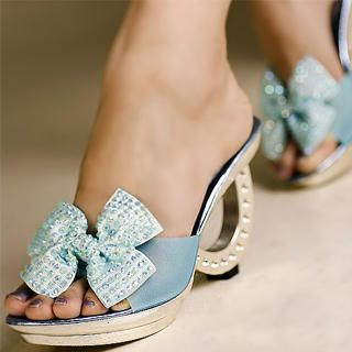 "Buy Kvoll Rhinestone ""Bow"" Semi-Opaque Mules 1023070608"