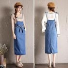 Denim Midi Pinafore Dress 1596