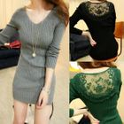 Lace Panel Long-Sleeve Knit Sweater 1596