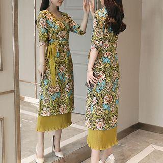 Image of 3/4-Sleeve Layered Midi Dress