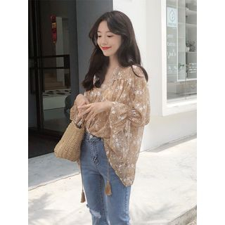 Image of Floral 3/4-Sleeve Blouse