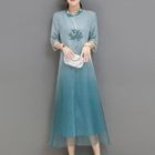 Embroidered Gradient Elbow-Sleeve Dress 1596
