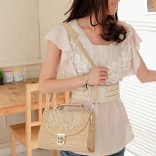 Croc-Grain Lace Overlay Cross Bag
