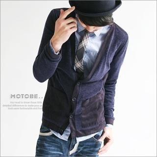 Picture of MOTOBE Faux-Suede Trim Cardigan 1021555886 (MOTOBE, Mens Knits, Korea)