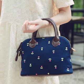 Faux-Leather-Panel Floral Handbag 1036314533