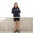 Set: Lettering Layered T-Shirt + Sweat Shorts 1596