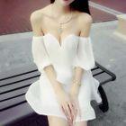 V-Neck Off-Shoulder Short-Sleeve Dress 1596