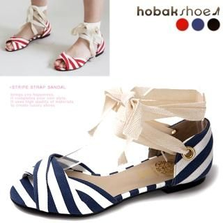 Buy HOBAK girls Ankle-Strap Striped Sandals 1022656169