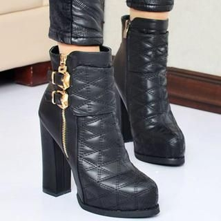 Quilted Buckled Ankle Boots