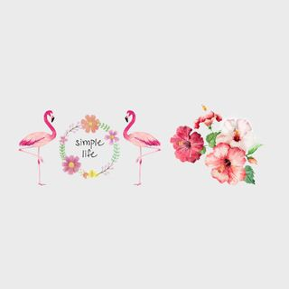 Floral Flamingo Temporary Tattoo Stickers