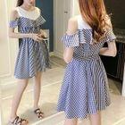 Cutout Shoulder Plaid Panel Short-Sleeve A-Line Dress 1596