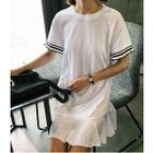 Ruffle Hem Short Sleeve T-Shirt Dress 1596