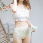 Set: Plaid Bikini + Lace Trim Cover-Up 1596