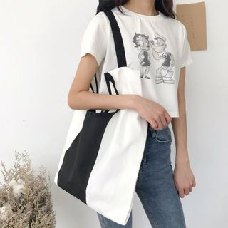 Canvas | Block | Color | White | Black | Tote | Size | Bag | One