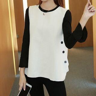 Set: 3/4-Sleeve Top + Buttoned Vest 1065641167