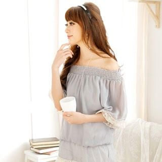Buy Reiko Ladies Lace Trim Off-Shoulder Chiffon Top 1022804149