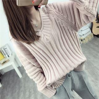 Rib Knit V-Neck Sweater 1053028659