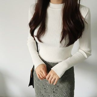 Crew-Neck Long-Sleeve Slim-Fit Ribbed Knit Top 1062134749