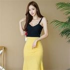 Knot-Front Ribbed Tank Top 1596