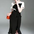 Color Block Tie-Waist Sheath Dress 1596