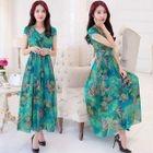 Cap-Sleeve Floral Maxi Dress 1596