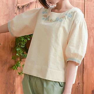 Elbow-Sleeve Embroidered Top 1049316607