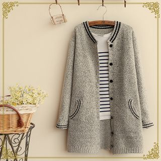 Contrast Trim Long Cardigan 1045088874